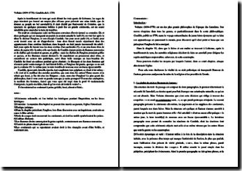 Voltaire, Candide, Chapitre VI, Extrait : commentaire composé