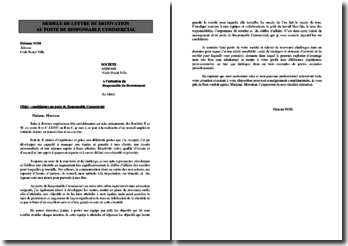 Lettre de motivation à un poste de responsable commercial
