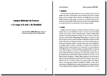 Stendhal, Le Rouge et le Noir : analyse