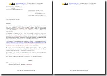 Lettre de demande au garagiste d'une prise en charge gratuite d'une panne survenant après réparation (ou du remboursement de son intervention)