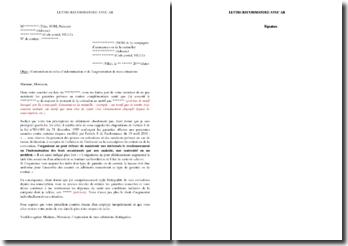 Lettre de contestation du refus d'indemnisation et de l'augmentation des cotisations