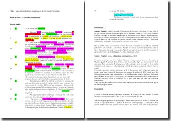 Flaubert, L'Education sentimentale, La rencontre de Frédéric et de Mme Arnoux : approche de la lecture analytique et de l'écriture d'invention