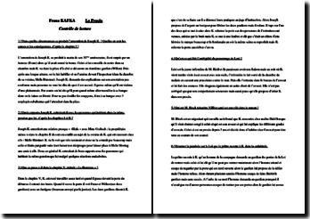 Frank Kafka, Le Procès : contrôle de lecture