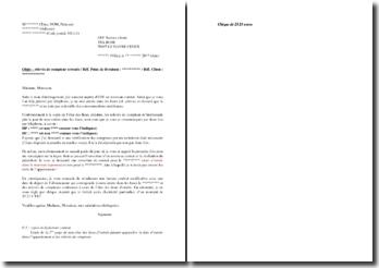 Lettre de contestation auprès d'EDF de la date de début de contrat et des premiers relevés de compteur
