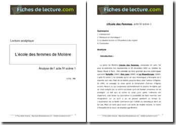 Molière, L'Ecole des femmes, Acte IV scène 1 : lecture analytique