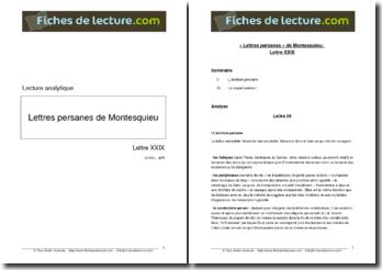 Montesquieu, Lettres persanes, Lettre XXIX : lecture analytique