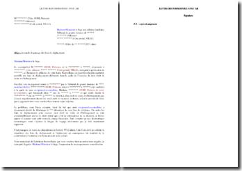 Lettre au juge de demande du partage des frais de déplacement