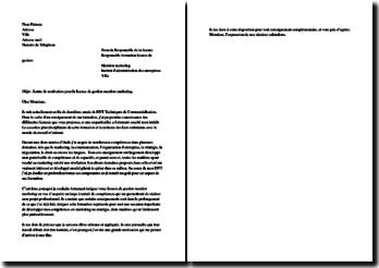 Lettre de motivation pour intégrer une Licence de Gestion mention Marketing dans un IAE