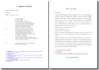 La Fontaine, Fables, Le Cygne et le Cuisinier : commentaire