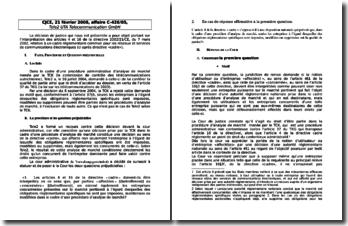 L'arrêt rendu par la Cour de justice des communautés européennes le 21 février 2008 : affaire C-426/05, Tele2 UTA Telecommunication GmbH