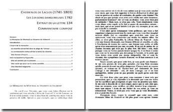 Choderlos de Laclos, Les Liaisons dangereuses, Lettre 134, Extrait : commentaire composé