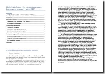 Choderlos de Laclos, Les Liaisons dangereuses, Lettre CXXV : commentaire composé