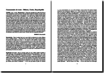 Diderot, Encyclopédie : Croire (commentaire de texte)