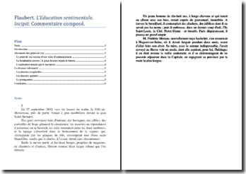 Gustave Flaubert, L'Education sentimentale, Incipit