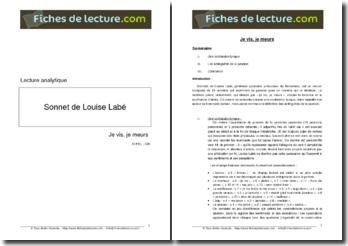 Louise Labé, Je vis, je meurs