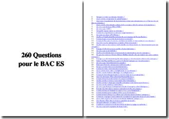 260 questions en Sciences Economiques et Sociales