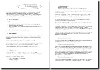 Le Droit Individuel à la Formation - utilisation et déroulement