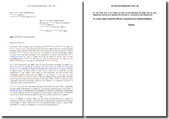 Lettre de réclamation de dédommagement pour clause de non-concurrence illicite