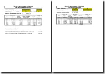Tableau des emprunts à annuités constantes et à amortissements constants