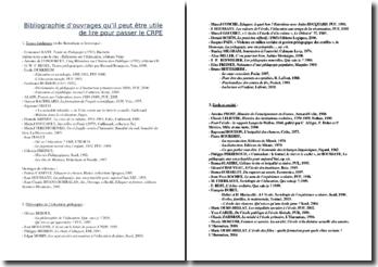 Bibliographie d'ouvrages essentiels pour le CRPE