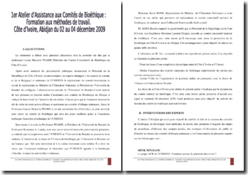 Assistance au comité de Biothétique : atelier réalisé en partenariat avec l'Unesco en Côte d'Ivoire