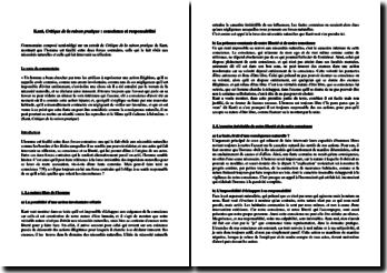 Emmanuel Kant, Critique de la raison pratique : conscience et responsabilité