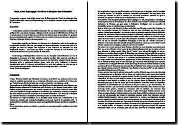 Emmanuel Kant, Traité de pédagogie : le rôle de la discipline dans l'éducation