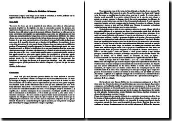 Thomas Hobbes, Le Léviathan : le langage