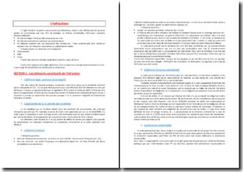 L'infraction : éléments constitutifs, complicité, etc.