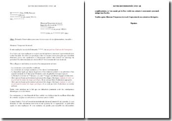 Lettre à l'inspecteur du travail de demande d'intervention pour cause de non-respect de la règlementation incendie