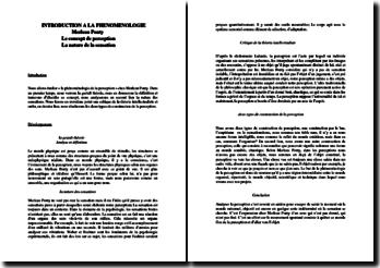 Maurice Merleau-Ponty, Introduction à la phénoménologie