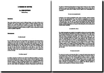 Maurice Merleau-Ponty : l'ordre du sentir