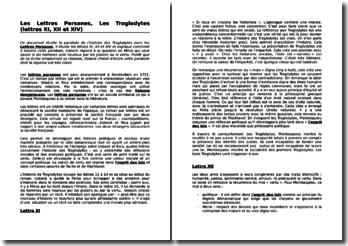 Montesquieu, Les Lettres Persanes, Les Troglodytes (lettres XI, XII et XIV)
