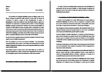 Commentaire des articles 5 et 20 de la Constitution relatifs au rôle du Président et du gouvernement