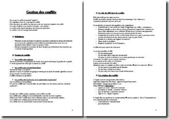 La gestion des conflits : formes de conflits, origines, etc.
