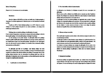 Spinoza, Le Traité politique, Chapitre I : commentaire