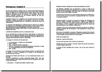 François Rabelais, Pantagruel, Chapitre VI : analyse (niveau Collège)