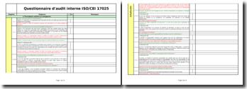 Questionnaire d'audit d'évaluation d'un laboratoire (ISO CEI 17025)