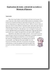 Epicure, Lettre à Ménécée, Le plaisir : explication de texte