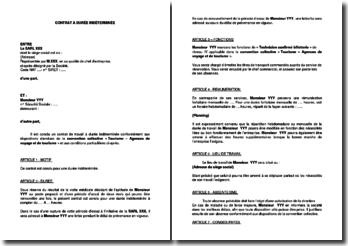 Contrat de travail CDI - Technicien confirmé billetterie (Tourisme)