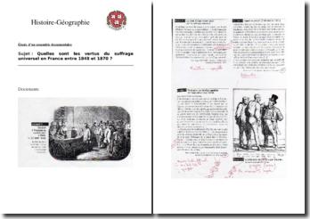 Quelles sont les vertus du suffrage universel en France entre 1848 et 1870 ?