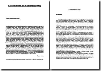 La commune de Cambrai (1077)
