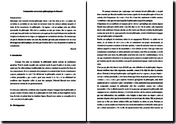 Husserl, Méditations carthésiennes, Extrait : commentaire