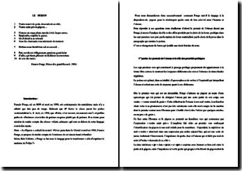 Francis Ponge, Le grand Recueil,Le pigeon : commentaire