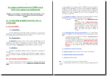 Les régimes juridictionnels de la CEDH et de la CJCE et les régimes non juridictionnel