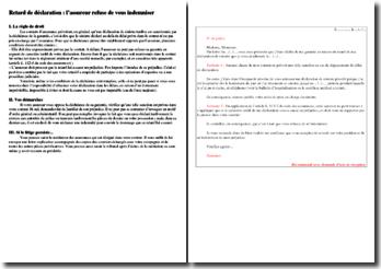 Retard de déclaration ou refus d'indemnisation : lettre type et démarche