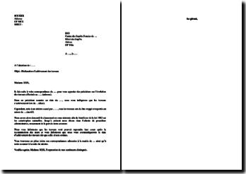 Lettre aux impôts fonciers pour état de catastrophe naturelle (Loi 1902)