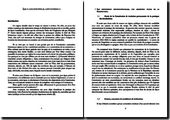 Les constitutional conventions (conventions de la Constitution)