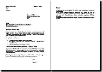 Lettre de demande d'autorisation au maire pour installation publicitaire
