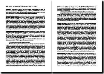 Fiche de décision : CC 2005-530 DC et 2005-531 DC du 29 décembre 2005 : la constitutionnalité de la loi de finances